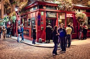 Drink in Temple Bar District, Dublin, Ireland